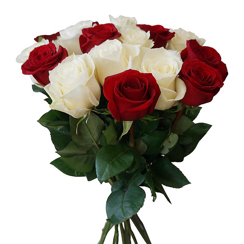 Букет из 9 красных и белых роз